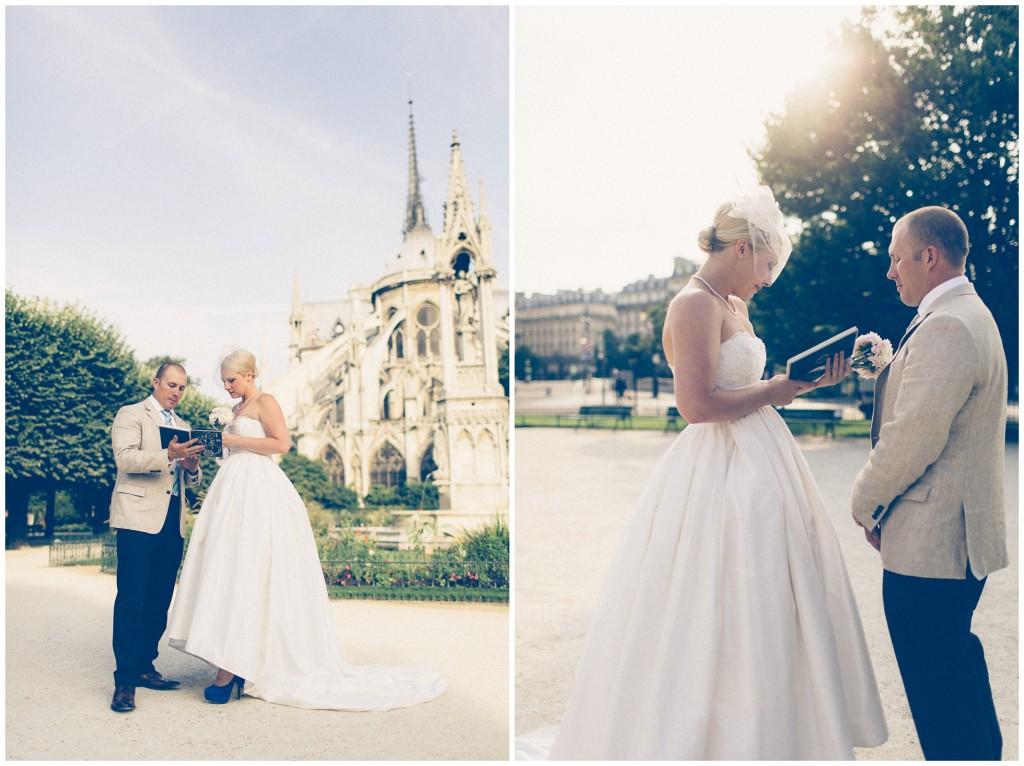 Wedding Park Paris Square with notre dame paris